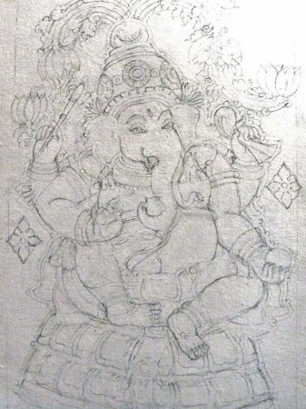 Kerala mural outline sketches images for Ananthasayanam mural painting