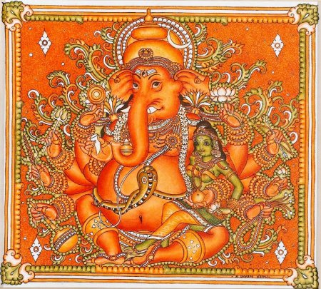 Indian painting styles kerala mural painting page 3 for Mural art of ganesha