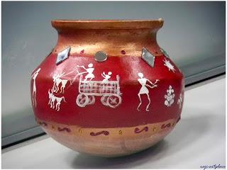Warli painting indusladies for Big pot painting designs