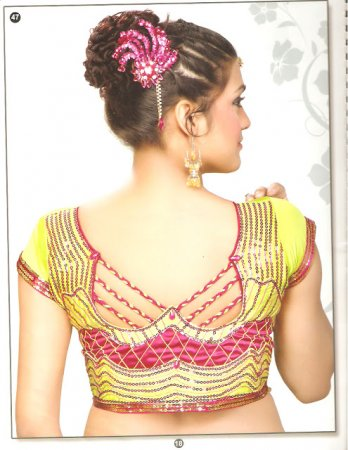 latest blouse back neck designs images, anjali blouse back