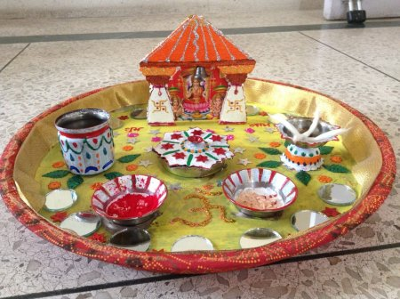 Navratri aarti thali decoration contest page 12 for Aarathi plates decoration
