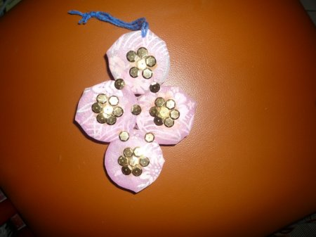 Wall hanging done by bangles indusladies for Waste bangles wall hanging