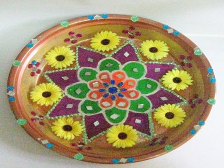 Wedding plate aarathi thali decoration collections for Aarathi plates decoration