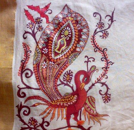 Fabric Painting On Kasavu Saree